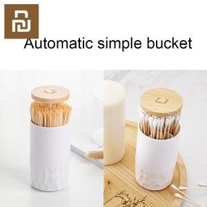 Image 1 - Original Zahnstocher box hause wohnzimmer presse automatische einfache baumwolle tupfer box baumwolle tupfer barrel lagerung box auf lager