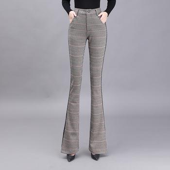 Office lady Slim rozkloszowane spodnie damskie spodnie w kratę damskie spodnie z wysokim stanem damskie spodnie damskie spodnie cargo damskie spodnie tanie i dobre opinie LOW LUV Poliester Pełnej długości CN (pochodzenie) Plaid Pani urząd Spodnie pochodni Mieszkanie REGULAR Osób w wieku 18-35 lat