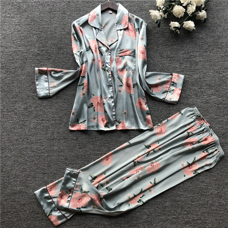 JULY'S SONG  2  Piece Autumn Women Faux Silk Satin Pajamas Set Printed Long Sleeve Sleepwear Pajamas Suit Female Sleep Homewear