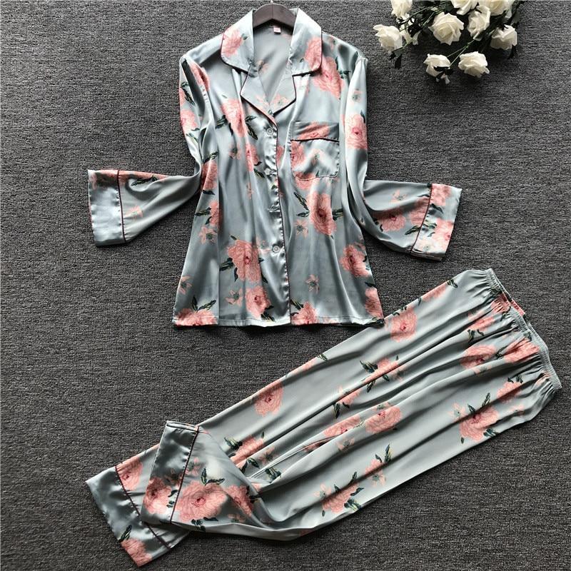 JULY'S SONG  2  Piece Autumn Women Faux Silk Satin Pajamas Set Printed Long Sleeve Sleepwear Pajamas Suit Female Sleep Homewear