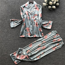 JULYS SONG  2  Piece Autumn Women Faux Silk Satin Pajamas Set Printed Long Sleeve Sleepwear Pajamas Suit Female Sleep Homewear