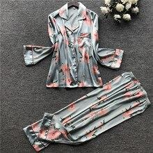 JULYS SONG 2 Stück Herbst Frauen Faux Silk Satin Pyjamas Set Gedruckt Langarm Nachtwäsche Pyjamas Anzug Weibliche Schlaf Homewear
