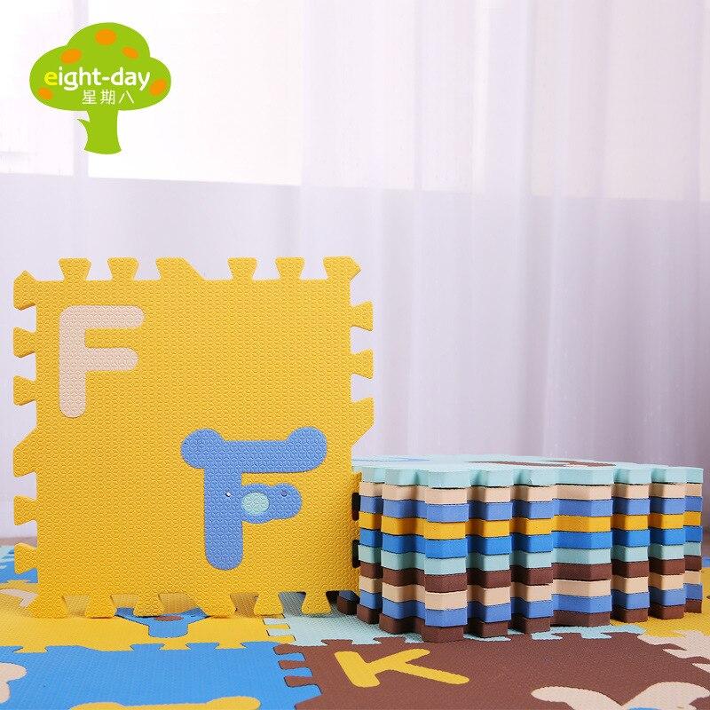 Semaine huit dessin animé lettré bébé tapis rampant Puzzle infantile enfant escalade Pad Joint mousse à caboteur épais 30