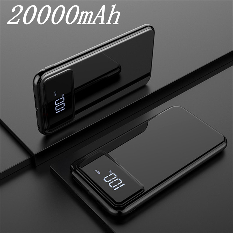 Внешний аккумулятор 30000 мАч Внешний аккумулятор портативное быстрое зарядное устройство для всех смартфонов с зарядным устройством банк полный экран водонепроницаемый - Color: Black 20000mAh