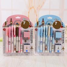 7Pcs/Set Office Gel Pen Erasable Refill Rod Erasable Pen Washable Handle 0.5mm Blue Black Red Ink School Writing Stationery