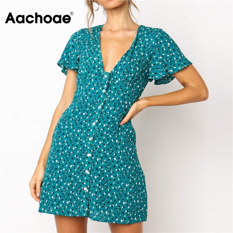 Sexy Mini Dresses Women Printed Short Sleeve Elegant Party Dress 2020 Summer Deep V Neck Buttons Pockets Beach Dress Vestidos