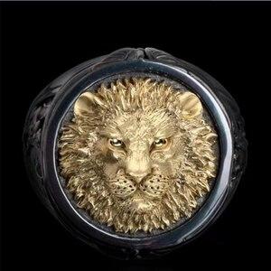 Яркая большая золотая голова льва мужское черное кольцо двухцветные роскошные кольца Америка Европейская мода ювелирные аксессуары в стил...