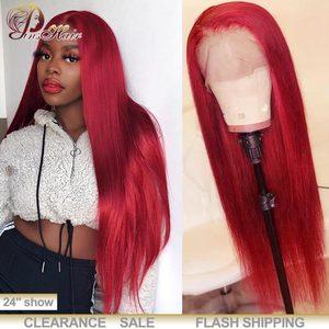 13х4 кружевные передние человеческие волосы парики 99J бордовый красный кружевные передние парики прямые перуанские волосы Remy парики черные ...