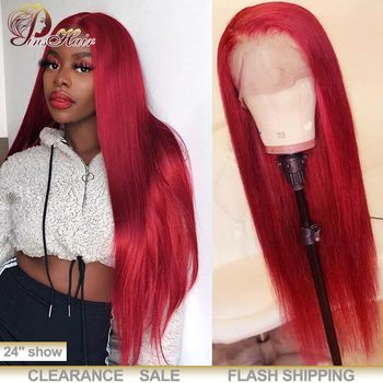 13x4 Lace Front Human Hair Wigs 99J Burgundy Red Lace Front Wigs Straight Peruvian Remy Hair Wigs Black Women Pinshair 180% Hair