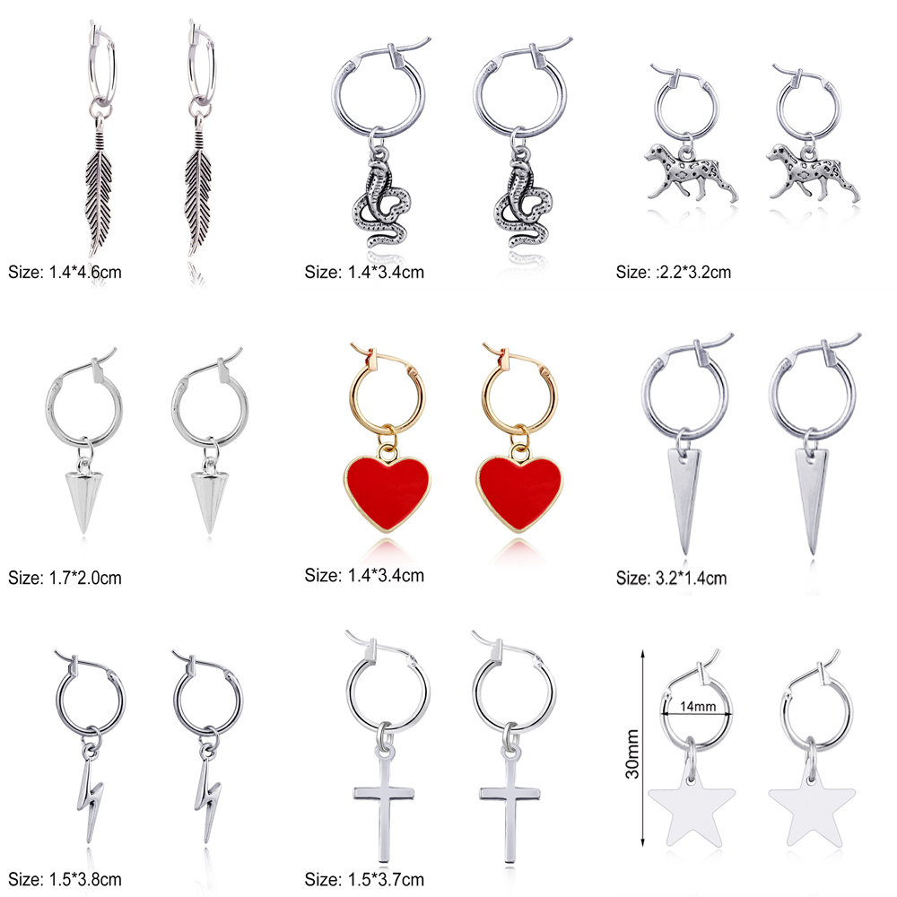 JUJIE Simple Earrings Vintage For Women 2020 Cross, Heart, Lightning, Star, Animal, Leaf Pendant Earring Fashion Jewelry