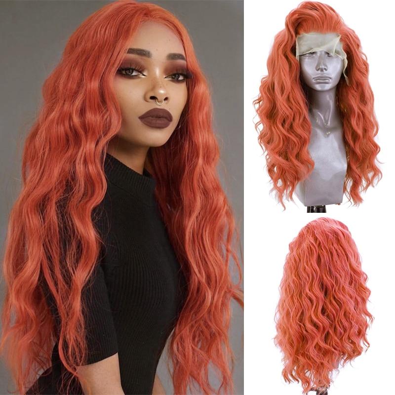 Charisma-Peluca de cabello sintético para mujer, cabellera artificial de fibra resistente al calor con ondas largas, color naranja y rojo, con encaje frontal, Cosplay