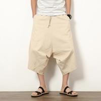 2019 Sinicism summer Men Fashion Pants Casual Mens Loose Pants Casual Pocket Cotton Linen Pants Ankle Length Trouser S-5XL