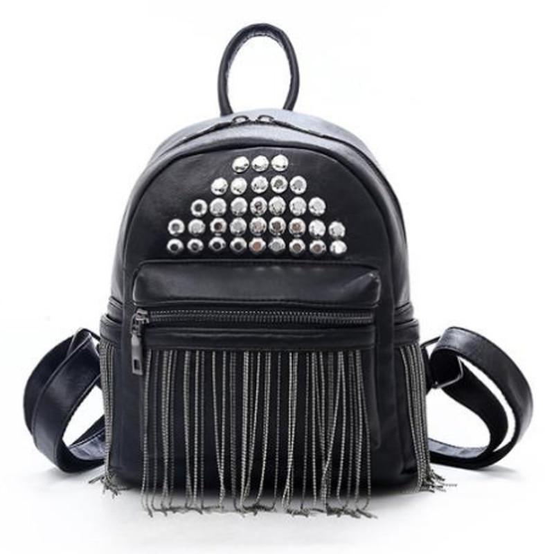 Retro Tassel Shoulder Small Backpack Korean Soft Leather Personality Ladies Rivet Casual Backpack