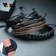 Vnox 4 pieces/ Set Leather Bracelets for Men Braided Rope Wristband Vintage Holiday Style Male Bangle(China)