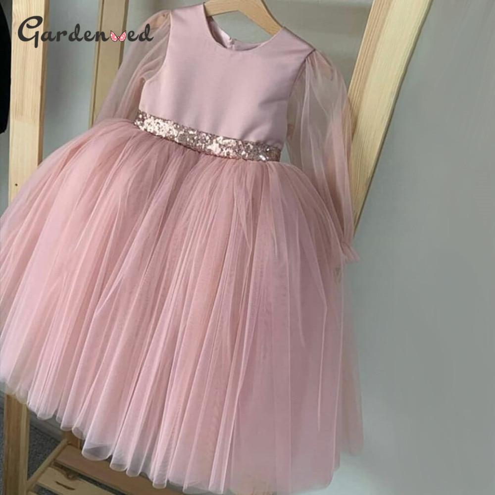 Gardenwed Blush Flower Girl Dresses Long Sleeves Tulle Princess Dress Sequined Bow Girl Wedding Party Dress 2020