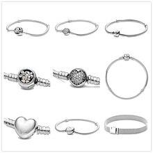 925 пробы серебряные бусина с зажимом браслеты для женщин подходят браслет reflexions& Подвески на браслеты для ручного творчества femme модные ювелирные изделия
