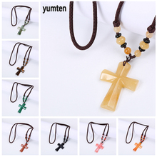 Yumten Religious Cross Necklace Long Natural Stone Pendant Fashion Christian Accessories Lucky Crystal Jewelry Gift