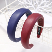1Pcs PU Leather Headbands for Women Sponge Hairbands Hair Accessories Retro Hoop Headwear