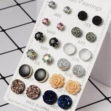 12 boucles d'oreilles rondes et brillantes pour femmes, bijoux en cristal avec strass et fleurs mixtes, vente en gros, cadeau
