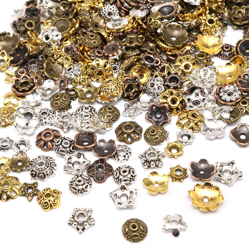 100/200pcs Small Mixed Size Tibetan Antique Silver Beads Caps Mix Color Flower Bead Cap Needlework Diy Accessories End Caps
