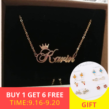XiaoJing 925 sterling silver Personality necklace custom letter and name pendant for women DIY fashion anniversary Gift