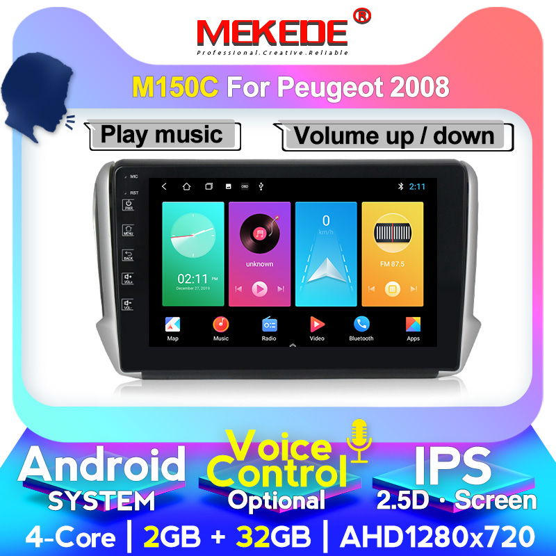 MEKEDE For Peugeot 2008 208 2015-2016 Car Radio Multimedia Video Player Navigation GPS Android System 4+64G Bluetooth