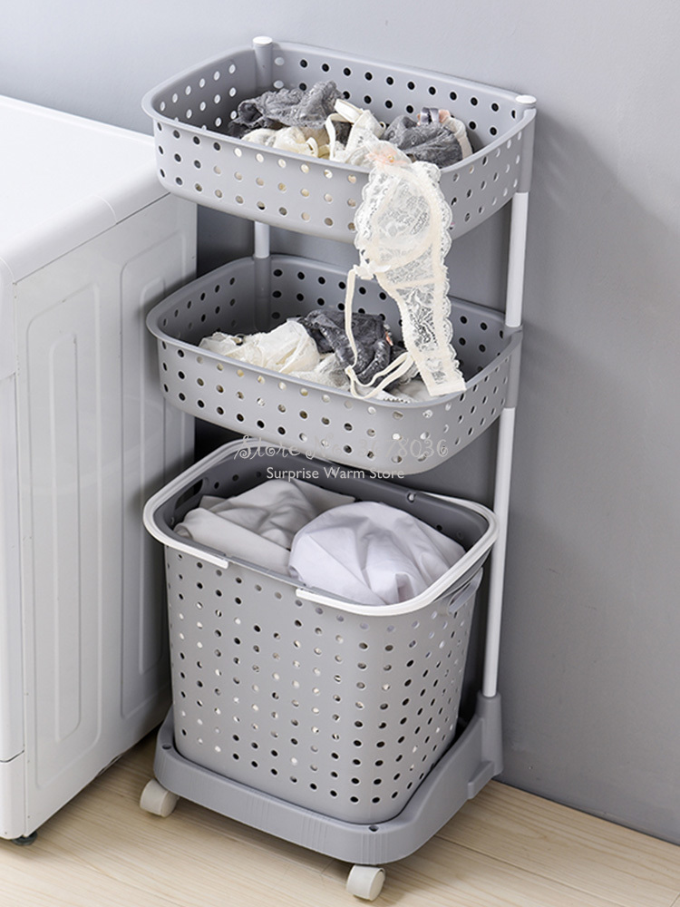 Nordic Multilayer Bathroom Laundry Basket Durable Plastic Dirty Clothes Basket Rack Seperate Storage Basket With Mute Wheels