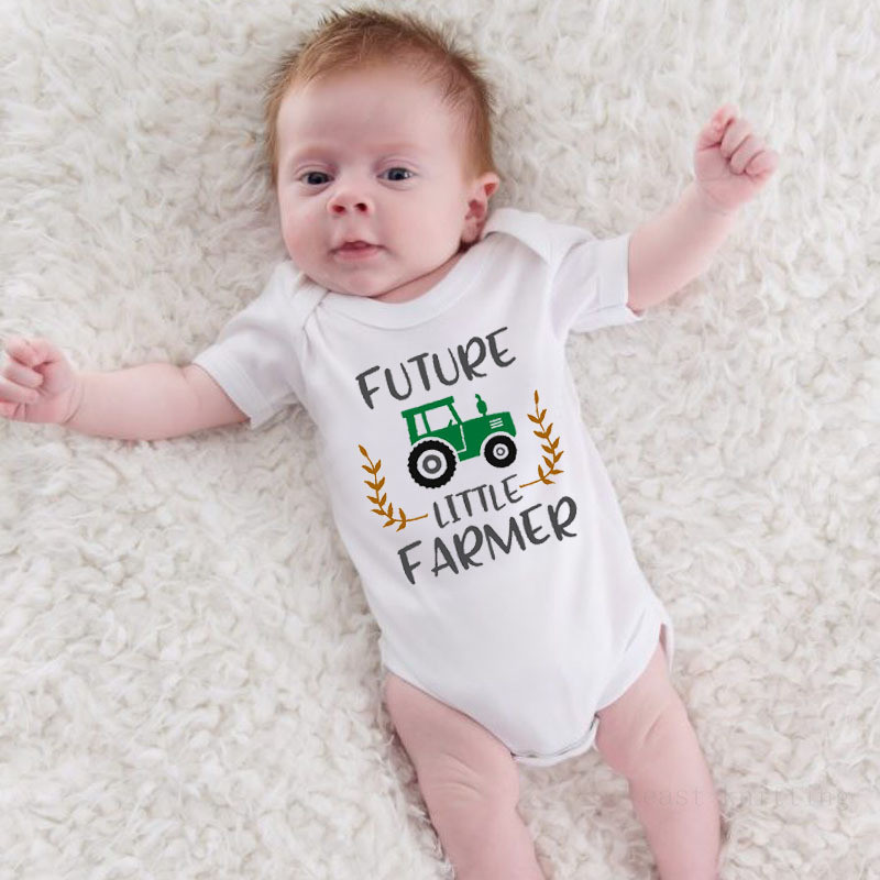 Newborn Baby Clothes Future Little Farmer Cotton Romper Playsuit Sunsuit Outfits Infant Boys Girls Summer Rompers Costume 0-24M