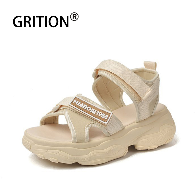 GRITION Women Sport Sandals Flat Platform Hook And Loop Thick Bottom Open Toe Shoes Increase Height Beach Outdoor Sandals Summer