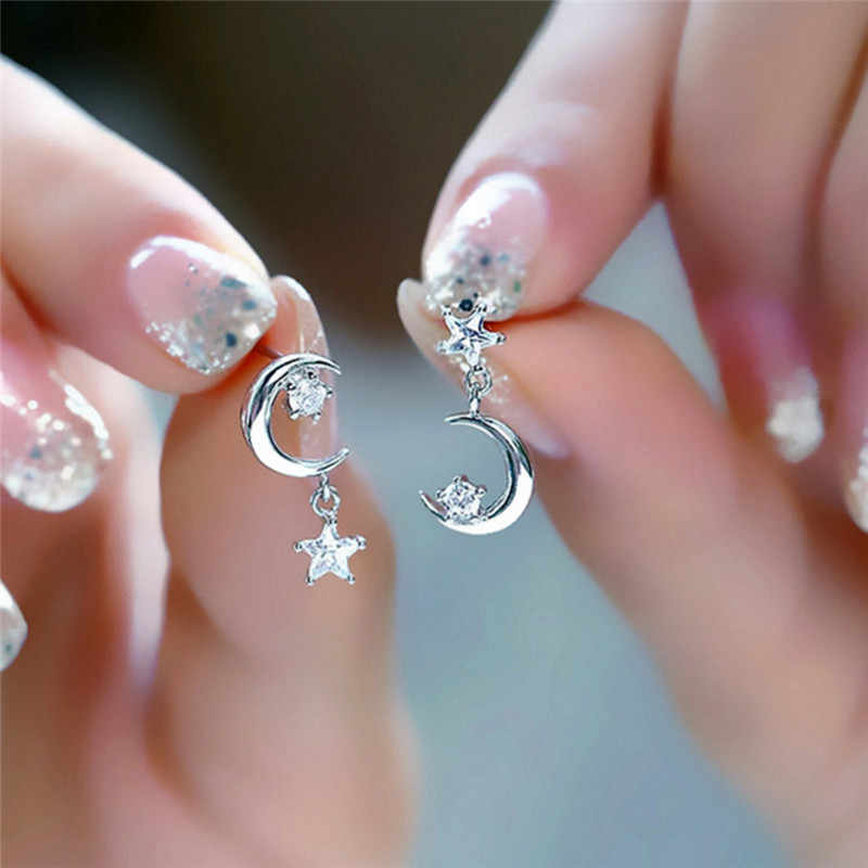 1 זוג סגנון ירח וכוכב עגילי קריסטל עגילי תכשיטי תכשיטי אוזן הצהרת מתנה באיכות גבוהה עבור נשים בנות
