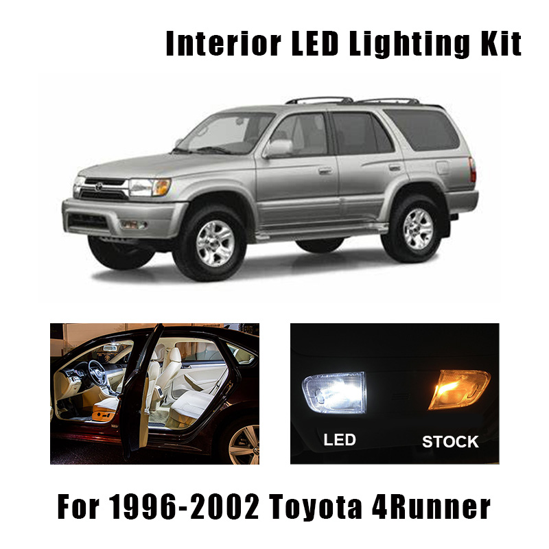 14 Bulbs White LED Interior Map Dome Light Kit Fit For 1996-1999 2000 2001 <font><b>2002</b></font> <font><b>Toyota</b></font> <font><b>4Runner</b></font> Cargo Courtesy License Lamp image