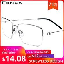 FONEX ไทเทเนียมกรอบแว่นตากรอบชายครึ่งแว่นตาผู้หญิงเกาหลีสายตาสั้นแว่นตาไร้สาย 98623
