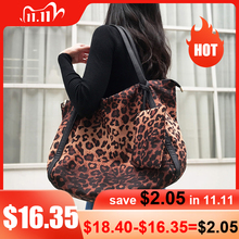 Mabula 女性のファッションヒョウバッグショルダーバッグ大容量ワークトートバッグバッグ綿 hangbag 旅行ショッピング小さなポケット