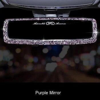 Hot Rhinestone Car Interior Rearview Mirror Decor Charm Crystal Bling Diamond Ornament Rear View Mirror Cover Auto Accessories 2