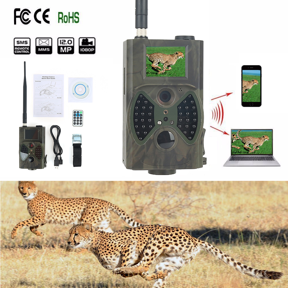 12MP 1080P Hunting Camera HC300M 2G MMS Cellular Wireless Wildlife Trail Camera Night Vision Surveillance Tracking Wild Cams