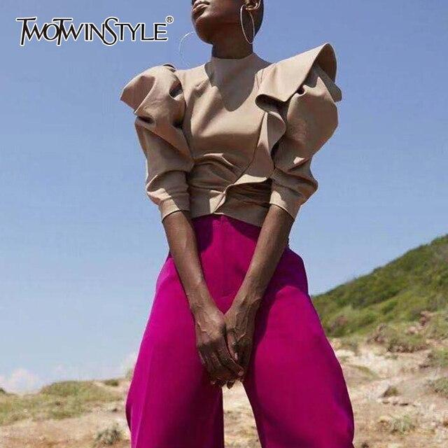 TWOTWINSTYLE 캐주얼 패치 워크 프릴 블라우스 여성 스탠드 칼라 퍼프 반소매 튜닉 셔링 셔츠 여성 패션 2020 신규