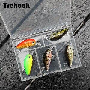 Image 1 - TREHOOK 36mm 3.6g 5 pièces Mini appâts de pêche à la manivelle appâts artificiels Topwater appâts durs méné nageurs Wobblers pêche à la carpe ensemble de leurres