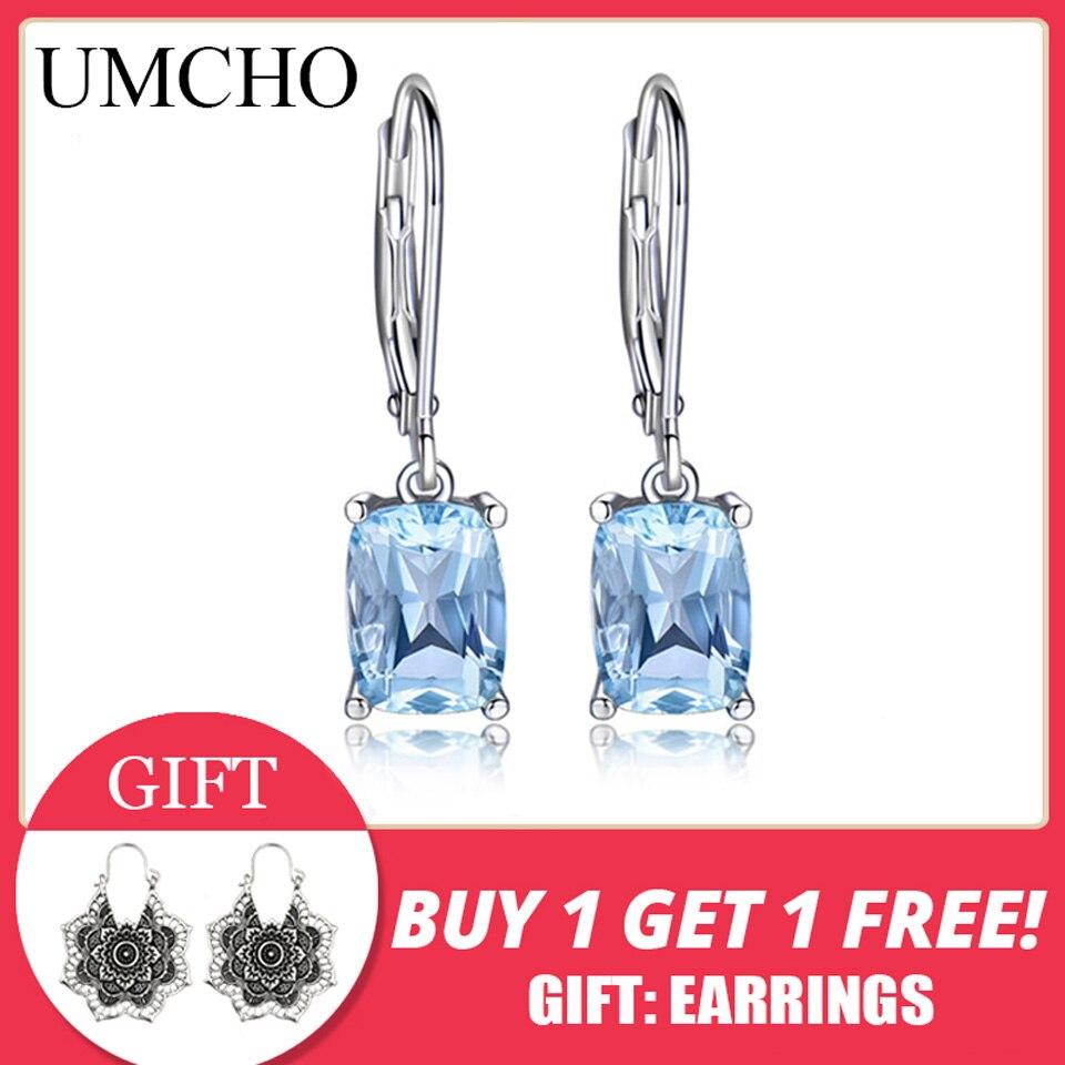 UMCHO véritable 925 en argent Sterling bleu ciel topaze goutte boucles d'oreilles élégant pierre gemme mariage fiançailles bijoux pour femmes cadeaux