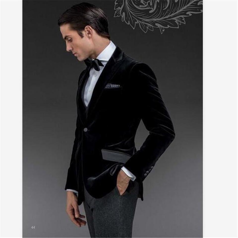 New Men's Suit Smolking Slim Fit Easculino Evening Suits For Men One Button Black Velvet Groom Tuxedos Groomsmen Suit