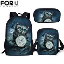 FORUDESIGNS 3Pcs/set School Bag Teenager Gothic Witchcraft Cat Backpack for Student Girls Child Bookbag Travel Rucksack Gift