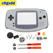 cltgxdd Grey Color Housing Shell Case Cover Skin replacem for Gameboy Advance for GBA DIY housing with rubber pads D Pad Button