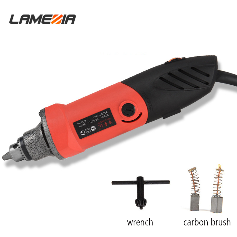 LAMEZIA 220V 500W Mini Electric Angle Grinder Regulating Speed Drill Grinding Machine Milling Polishing Rotary Tool
