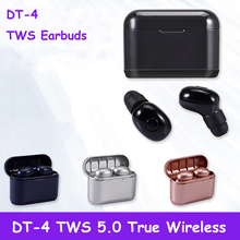 DT-4 TWS 5.0 Mini Twins Wireless Bluetooth Stereo Headset Sport Headphone In-Ear Earphones Earbuds With Charging Box pymh bluetooth 5 0 headset mini tws twins wireless in ear stereo earphones earbuds