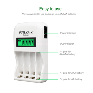 Image 3 - PALO 4 slot Display LCD caricabatterie intelligente intelligente 1.2V aa aaa per batterie ricaricabili AA AAA NiCd NiMh