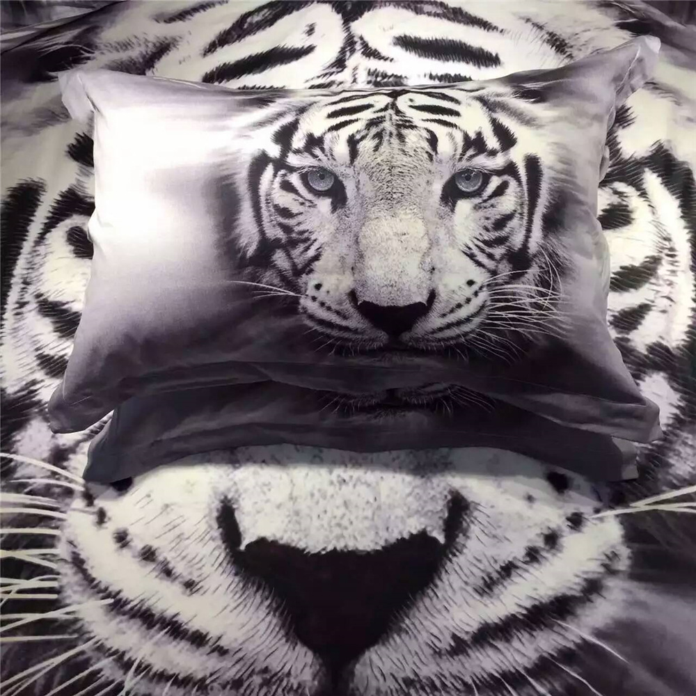 Cross Border Hot Selling Digital Printing White Tigers Sheet Quilt Cover 3D Bedding Four Sets Textile A Generation Of Fat