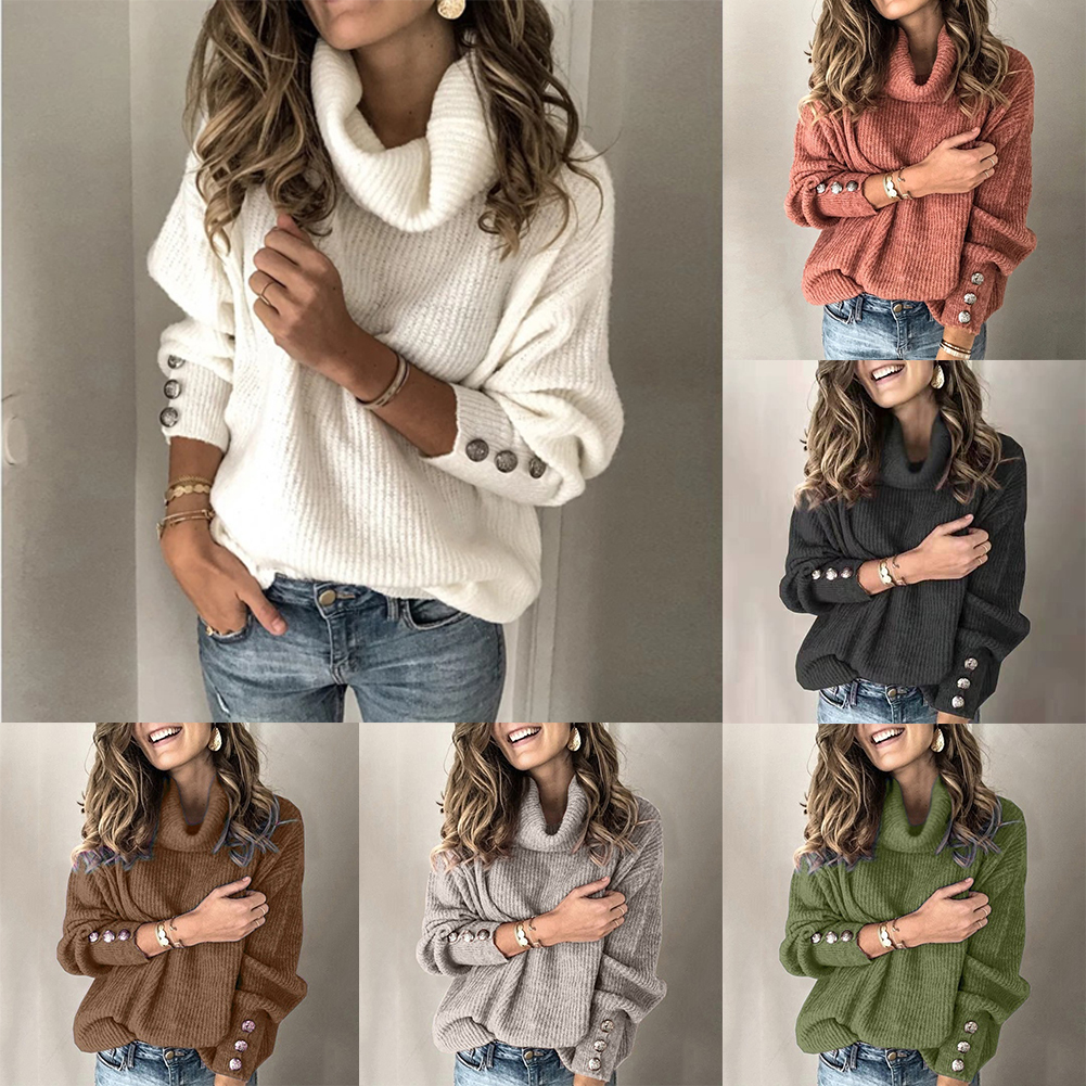 DANALA Women's Fashion Winter Knit Sweater Loose Fit Solid Color Cowl Neck Pullover Knitwear High Collar Warm Sweater For Women