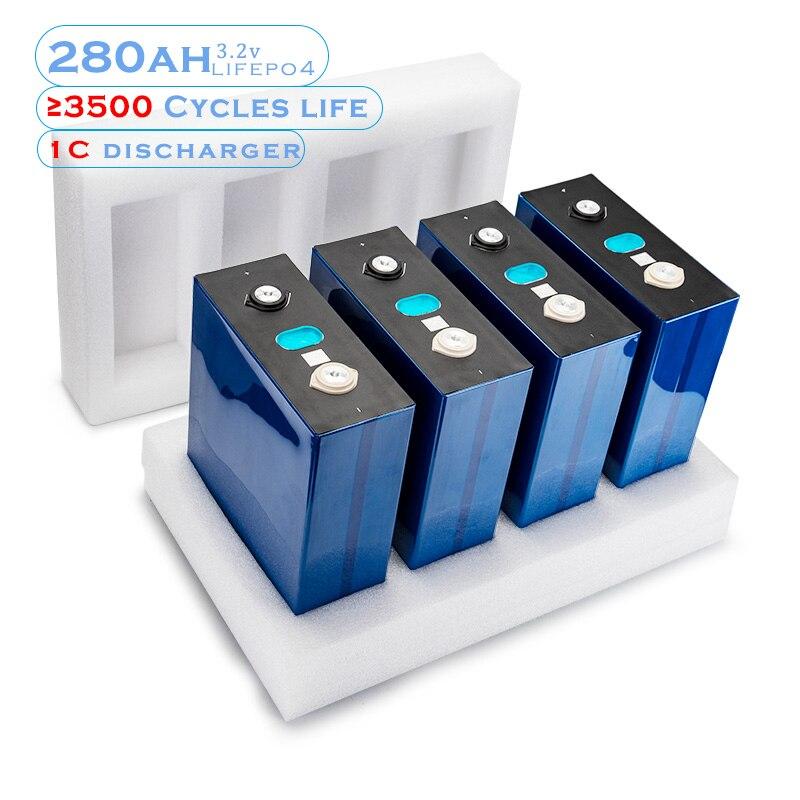4 pièces 3.2V 280Ah Lifepo4 batterie 12V 280AH batterie Rechargeable pour voiture électrique RV système de stockage dénergie solaire avec jeu de barres