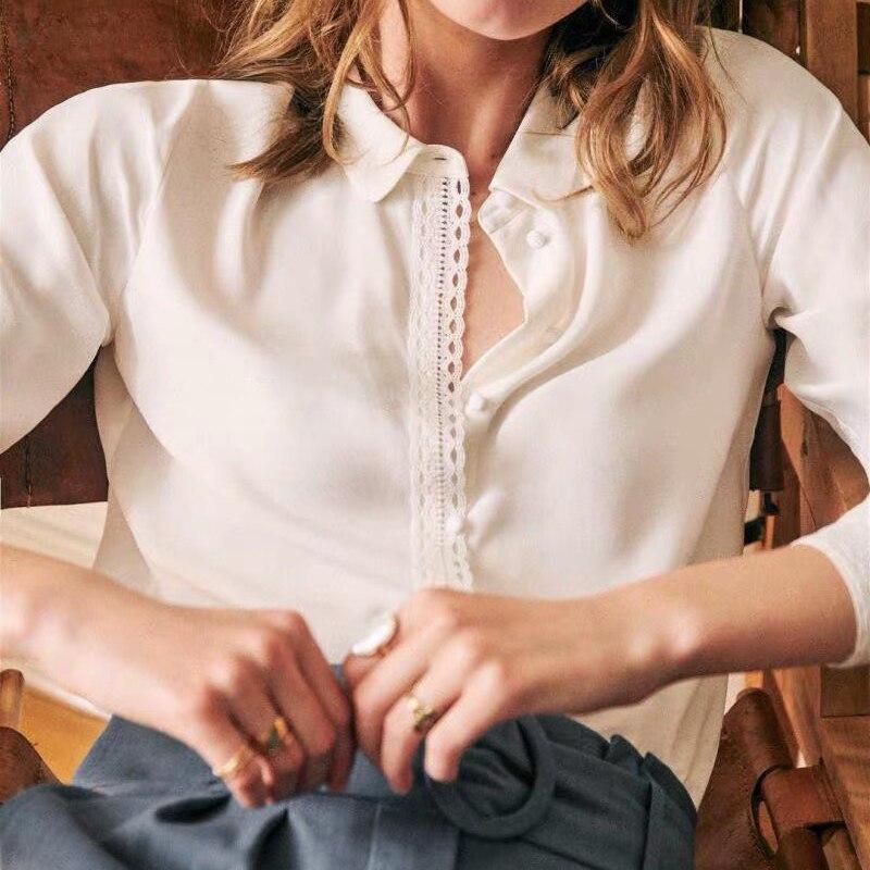 100% Silk Brand Fashion Women High-end Luxury Elegant Spring  Autumn Silk Long-sleeved Shirt Top