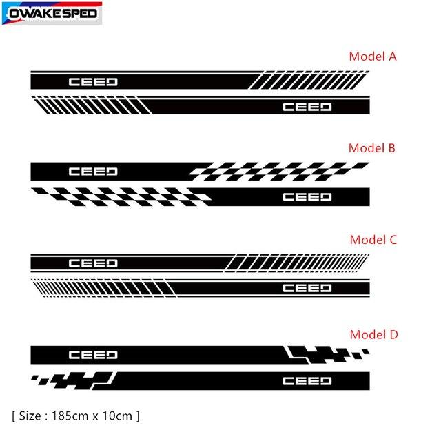 Sowohl Seite Racing Sport Streifen Vinyl Aufkleber Auto Körper Tür Skirst Aufkleber Für KIA CEED SW PRO GT 2010-2019 3-5 türen