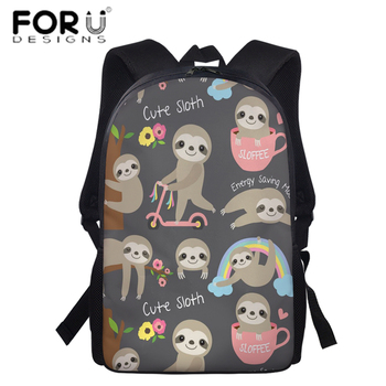 FORUDESIGNS Preppy Style Cute Sloth Prints Teenager Girls School Backpack,Women Ladies Casual Outside Travel Daypack Backpacks 2018 women s leather backpack monster fashion ladies schoolbag for teenager girls female cute backpack preppy casual backpack
